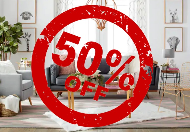50% off furnture Amazon, eBay Outlets